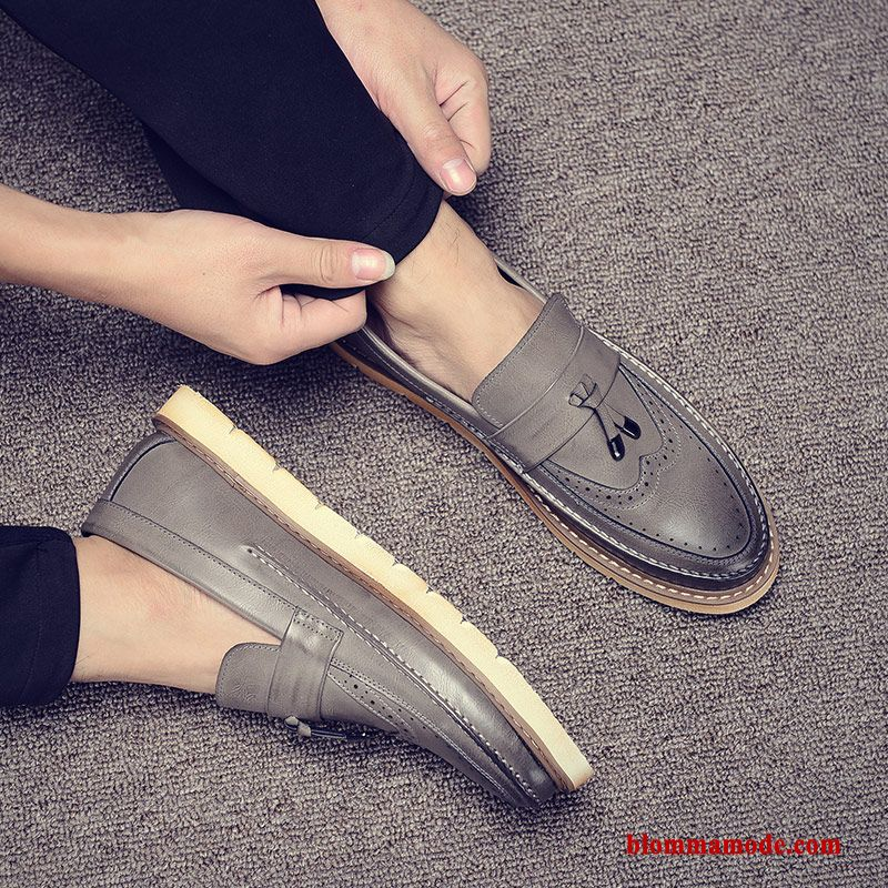 Trend Slip On Skor Loafers Herr Skateboard Skor Casual British Svart