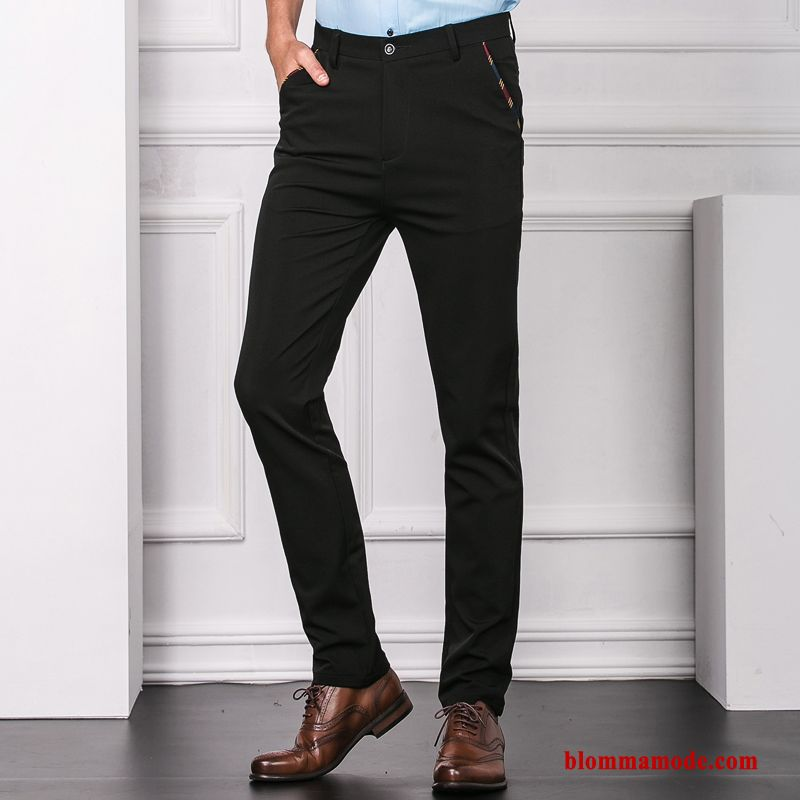 Casual Byxor Ny Cigarettbyxor Slim Fit Stretch Herr Business Svart