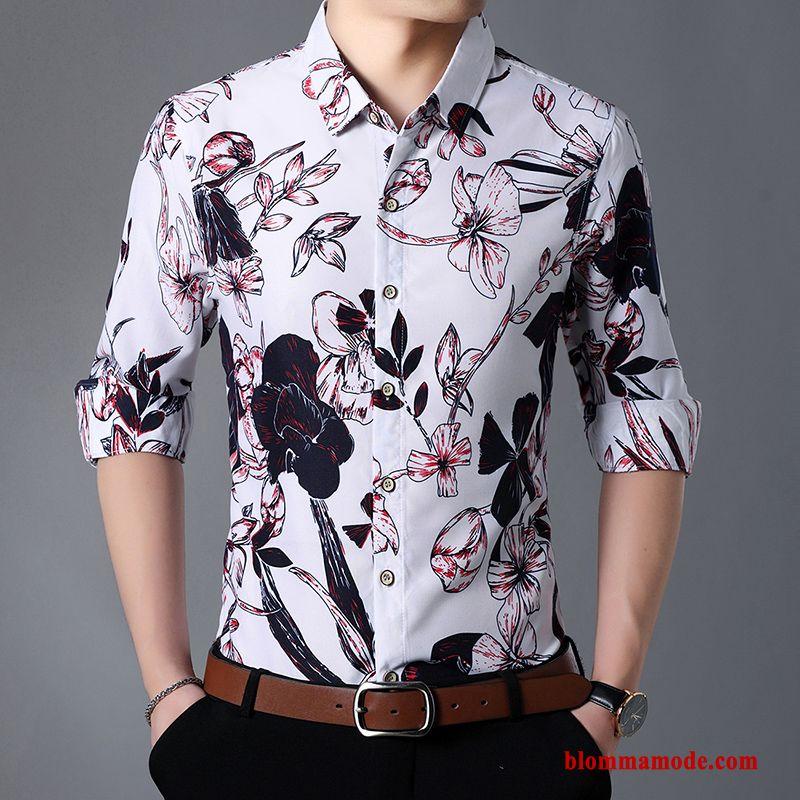 8f11f55c5346 Herr Vår Tryck Vit Personlighet Skjorta Stora Storlekar Trend Höst Till Salu